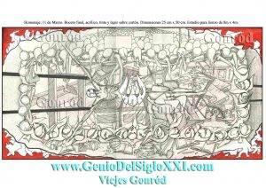 Obra de Arte. Dibujo moderno. Cuadro moderno, dibujo contemporáneo, dibujo actual. España. Homenaje 11 M Vicjes Gonród del genio siglo XXI, 21