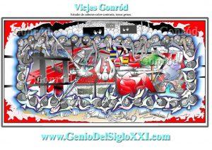 Arte, pintura, Cuadro contemporáneo moderno, actual, 4 Homenaje 11 M Boceto Vicjes Gonród el genio del arte del siglo XXI, España